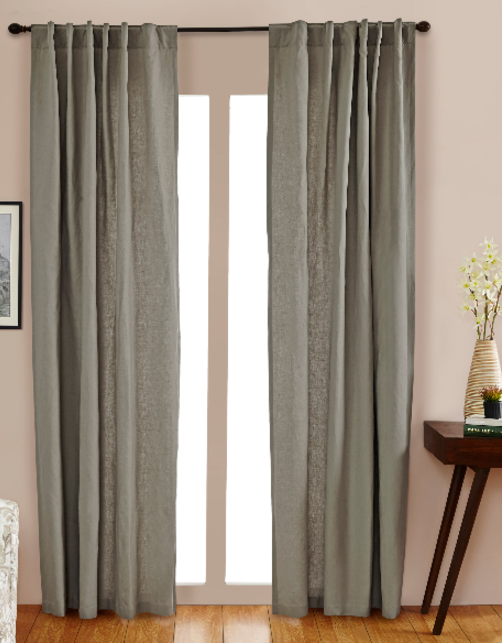 "Linen Cotton Panel Fog 51x96"""