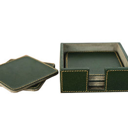 Leather Set of 6 Coasters Green