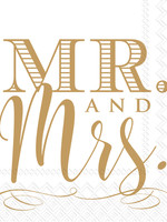Mr & Mrs Gold Cocktail Napkin