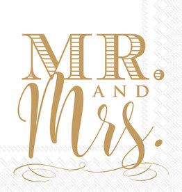 Mr & Mrs Gold Cocktail Napkin