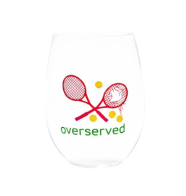 Over Served Pink Stemless Wine Glass
