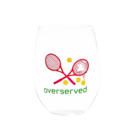 Over Served Pink Stemless Wine Glass