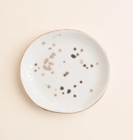 White/Gold Speckled Jewelry Dish