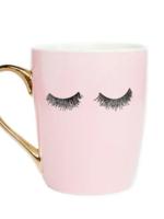 Pink Eyelashes Gold Coffee Mug