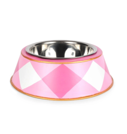 Plaid Pet Bowl Pink