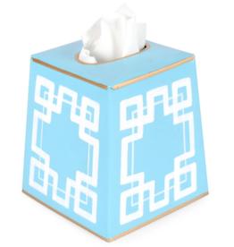Interlocking Key Tissue Box Cover Blue