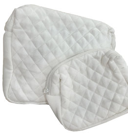 White Quilted Gusset Bag