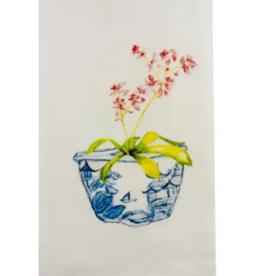 Pink Orchid in Blue Pot Dishtowel