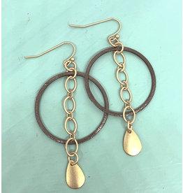 Brushed Nickel Hoop w/ Gold Chain Earrings