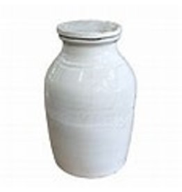 White Terracotta Canister with Lid