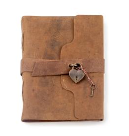 Leather Journal w/ Heart Lock &  Key