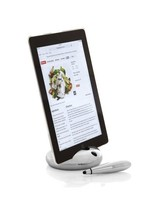 Pebble tablet stand with stylus