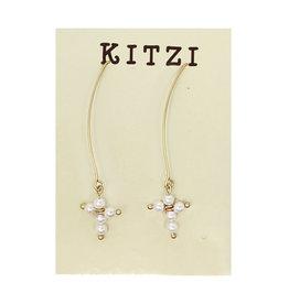 Long Hook Earrings Pearl Cross