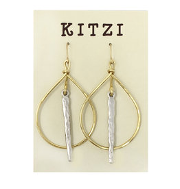 Teardrop Silver Bar Earrings