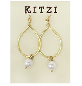 Gold Teardrop Pearl Earrings