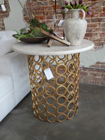"""Ringlet Entry Table with Gilded Gold Finish and Light Granite Top  36"""" Diameter"""