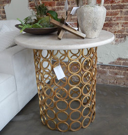 "Ringlet Entry Table with Gilded Gold Finish and Light Granite Top  36"" Diameter"