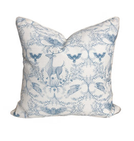 Adam Trest Home Woodland Toile Blue and White Throw Pillow