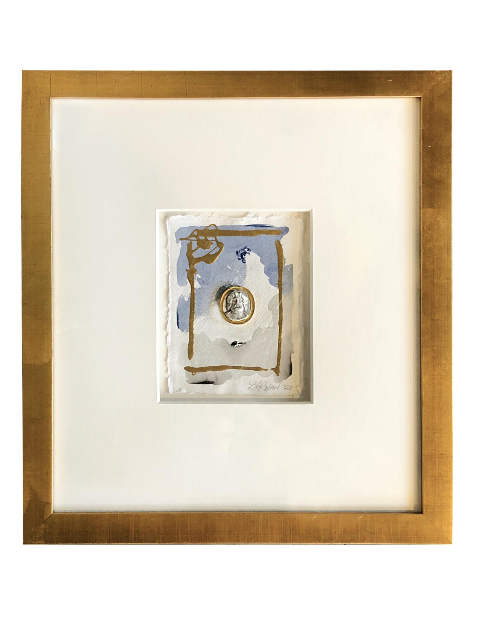 "Intaglio 12x14"" Blue/Gray Bust"
