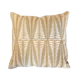 Mustard Pillow with Leaf Pattern 20x20