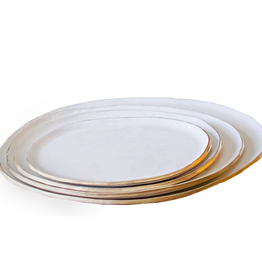 Oval Platter White/Gold
