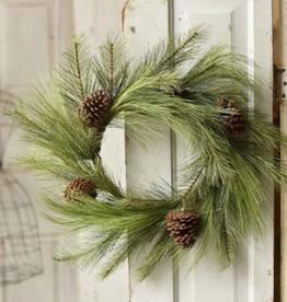 """Long Needle Pine Wreath w/Cones 24"""""""