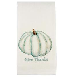 Pumpkin Give Thanks Blue Dishtowel