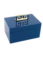 Blue Lacquered Greek Key Jewelry Box