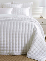 Silken Solid Puff Bedspread Full/QN White
