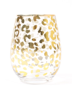 Leopard Stemless Wine Glass