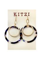 Acrylic Blue/Gold Hoop Earrings