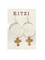 Kitzi Hoop Cross Earrings