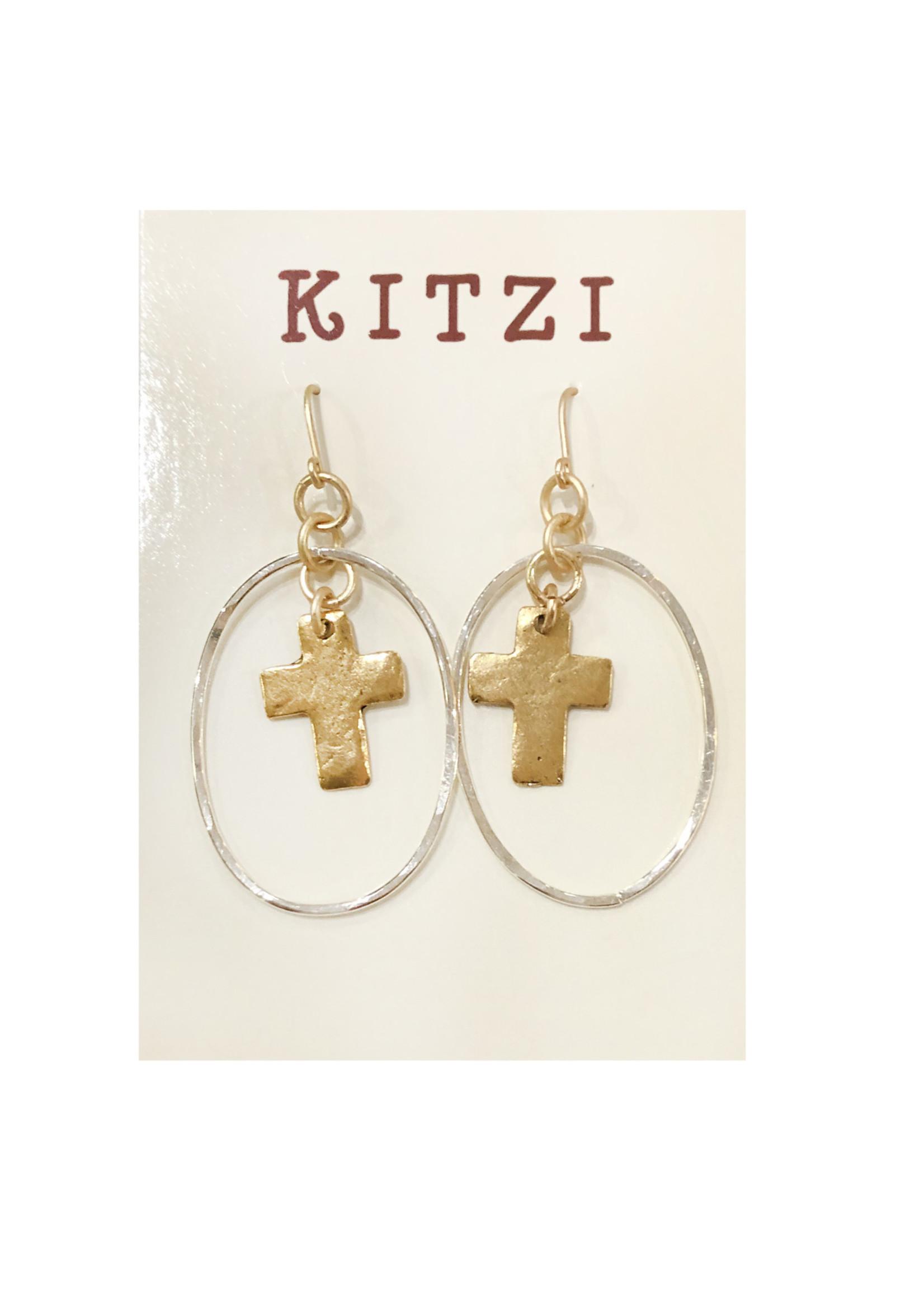 Kitzi Earrings Oval Cross