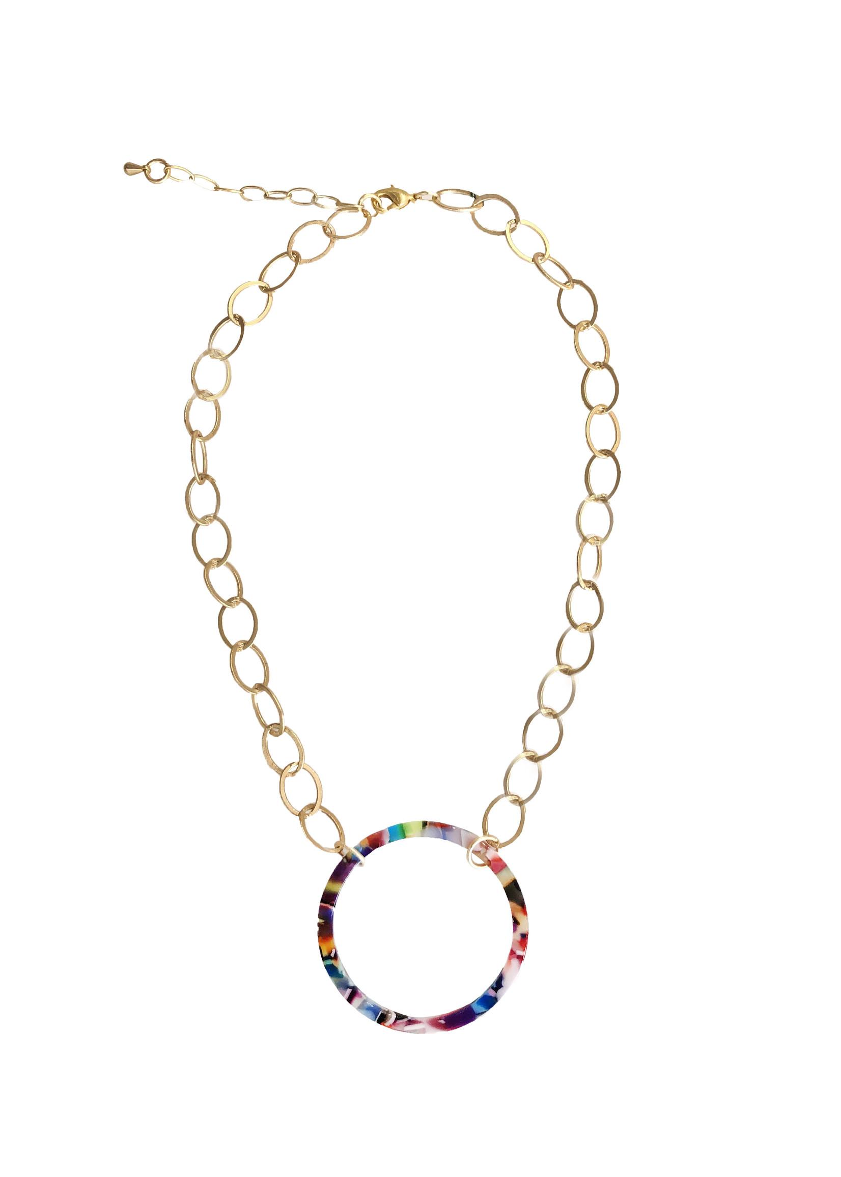 Confetti Circle Gold Necklace