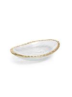 Clear Textured Bowl w/ Gold Rim