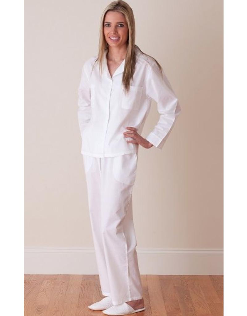 Christine White Pajamas with Edging Detail