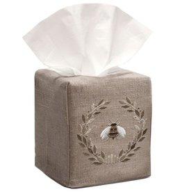 Natural Linen Tissue Box Cover Napolean Bee Wreath