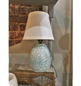 Lace Doily Small Blue Pottery Lamp