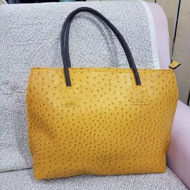 Vegan Ostrich Leather Tote - Mustard