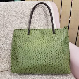 Vegan Ostrich Leather Tote - Olive