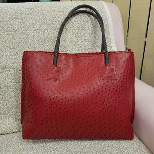 Vegan Ostrich Leather Tote - Red