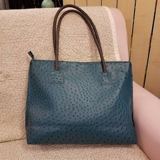 Vegan Ostrich Leather Tote - Teal