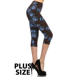 Blue Poppies Plus Capri Legging