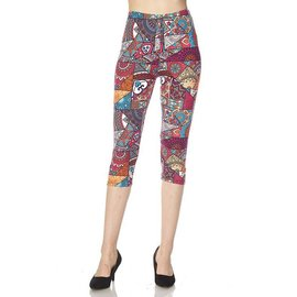 OS Capri Leggings- Cherry Red Patches