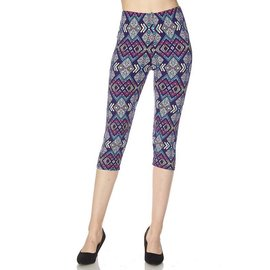 OS Capri Leggings- Vivid Diamonds on Blue