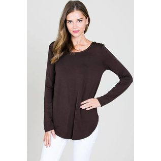 L/S ROUND NECK TOP BROWN