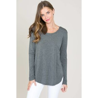 L/S ROUND NECK TOP CHARCOAL