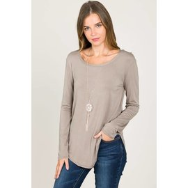 L/S ROUND NECK TOP LIGHT  COCOA