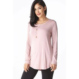 L/S ROUND NECK TOP MAUVE- size LARGE ONLY