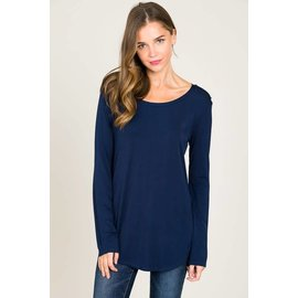 L/S ROUND NECK TOP NAVY- size MEDIUM only